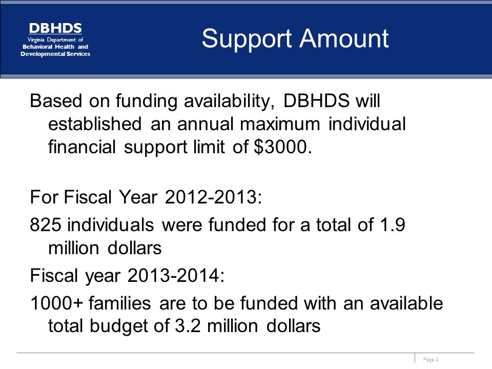 Page 3 DBHDS Virginia Department of Behavioral Health and Developmental Services Support Amount Based on funding availability, DBHDS will established