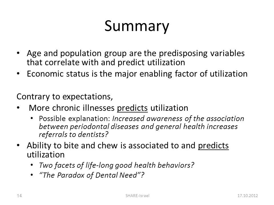 Summary Age and population group are the predisposing variables that correlate with and predict utilization Economic status is the major enabling factor of utilization Contrary to expectations, More chronic illnesses predicts utilization Possible explanation: Increased awareness of the association between periodontal diseases and general health increases referrals to dentists.