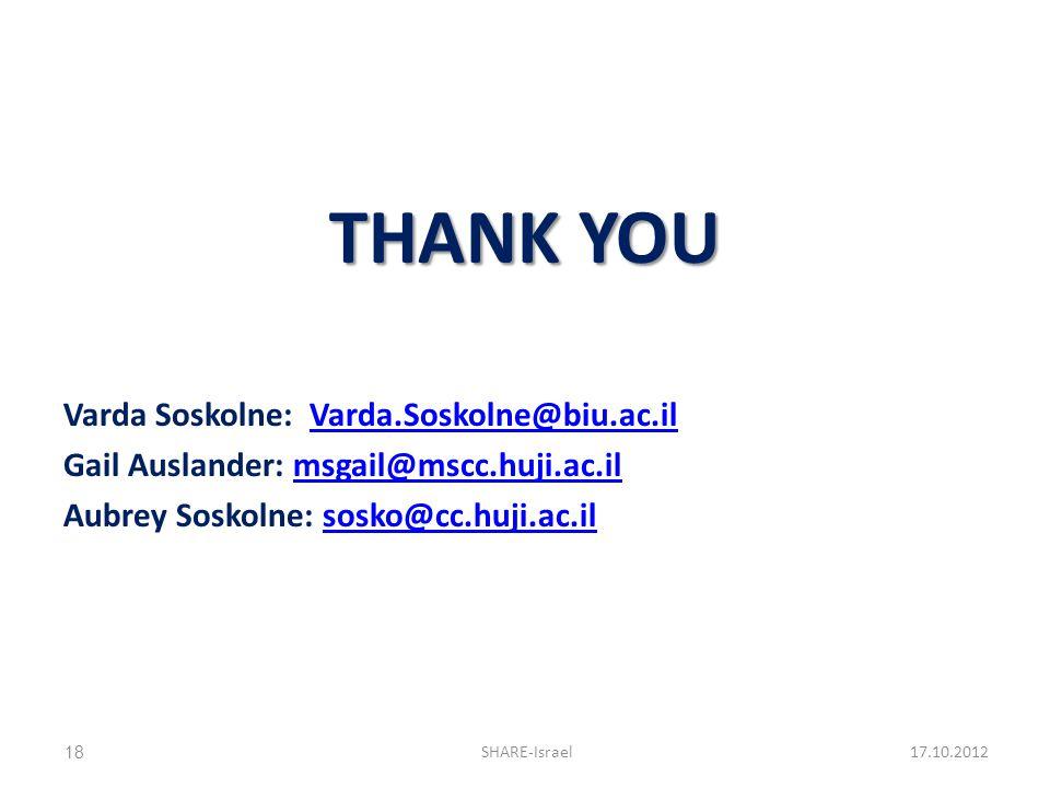 THANK YOU Varda Soskolne: Varda.Soskolne@biu.ac.ilVarda.Soskolne@biu.ac.il Gail Auslander: msgail@mscc.huji.ac.ilmsgail@mscc.huji.ac.il Aubrey Soskoln