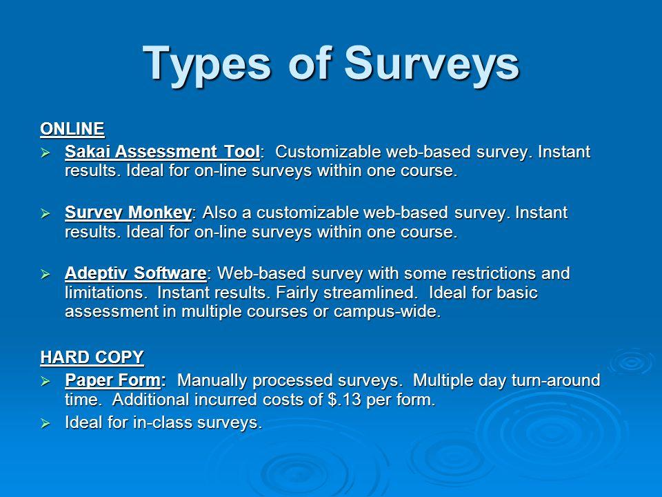 Types of Surveys ONLINE Sakai Assessment Tool: Customizable web-based survey.