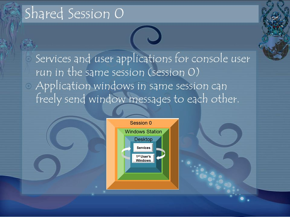 Shared Session 0 Services and user applications for console user run in the same session (session 0) Application windows in same session can freely send window messages to each other.