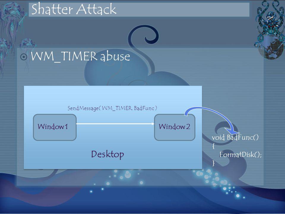 Shatter Attack WM_TIMER abuse SendMessage( WM_TIMER, BadFunc ) void BadFunc() { FormatDisk(); } Desktop Window 1Window 2
