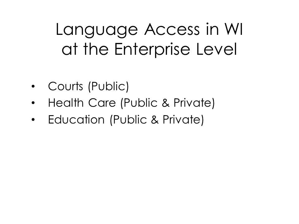 Language Access in WI at the Enterprise Level Courts (Public) Health Care (Public & Private) Education (Public & Private)