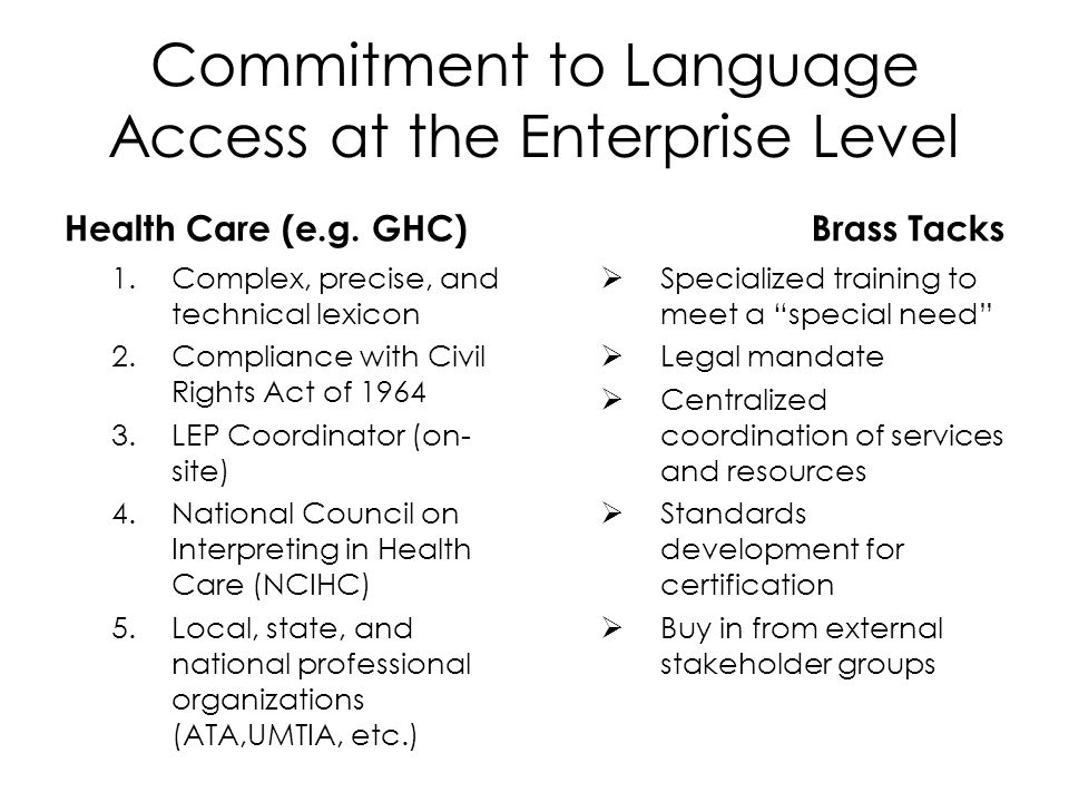 Commitment to Language Access at the Enterprise Level Health Care (e.g.