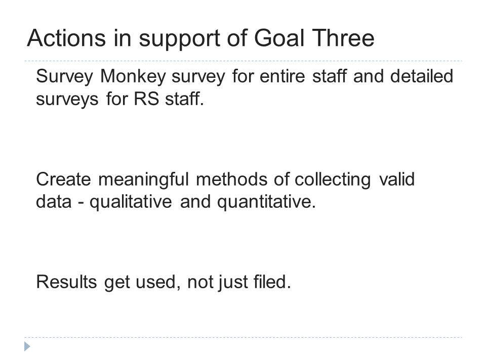 Actions in support of Goal Three Survey Monkey survey for entire staff and detailed surveys for RS staff.