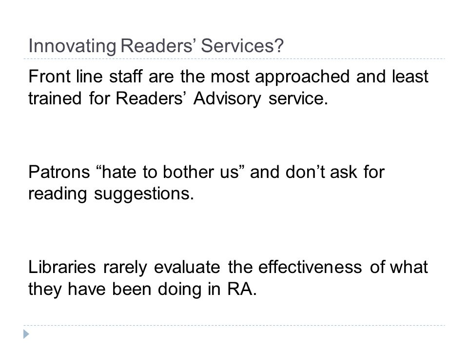 Innovating Readers Services.