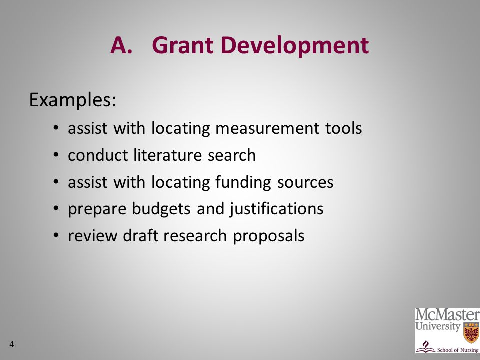 A. Grant Development Examples: assist with locating measurement tools conduct literature search assist with locating funding sources prepare budgets a