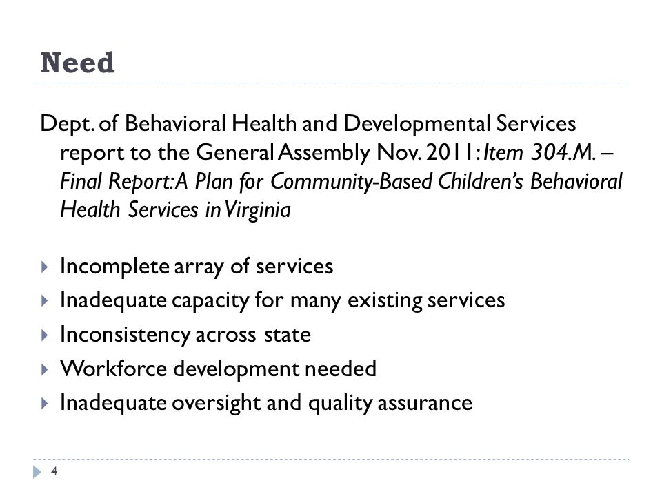 Need 4 Dept. of Behavioral Health and Developmental Services report to the General Assembly Nov.
