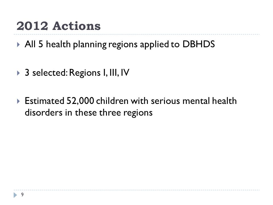 2012 Actions 10 Region I (Central Virginia): $500,000 SGF FY13 Expand mobile crisis team in Lynchburg area to non-Medicaid children Expand child psychiatry to 5 CSBs which did not have it through direct access and telepsychiatry Psychiatric consultation to pediatricians throughout region Consultation by Horizon Behavioral Health to other CSBs on how to build services