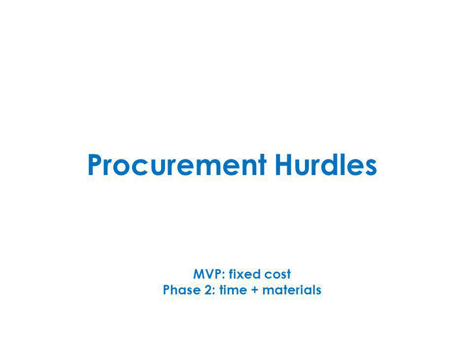 Procurement Hurdles MVP: fixed cost Phase 2: time + materials