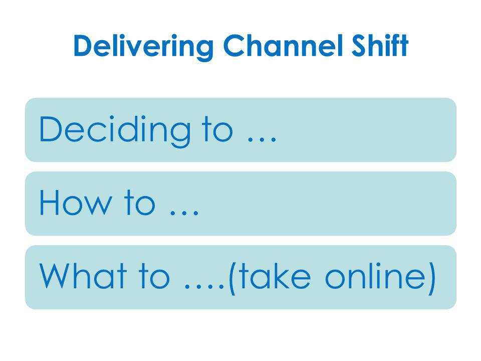 Delivering Channel Shift Deciding to …How to …What to ….(take online)