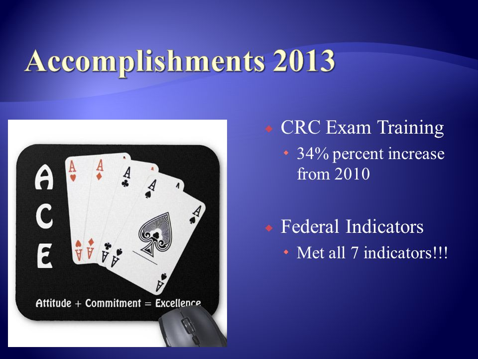 CRC Exam Training 34% percent increase from 2010 Federal Indicators Met all 7 indicators!!!