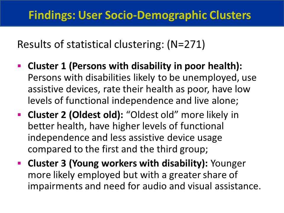 Findings: User Socio-Demographic Clusters Cluster 1 (Persons with disability in poor health): Persons with disabilities likely to be unemployed, use assistive devices, rate their health as poor, have low levels of functional independence and live alone; Cluster 2 (Oldest old): Oldest old more likely in better health, have higher levels of functional independence and less assistive device usage compared to the first and the third group; Cluster 3 (Young workers with disability): Younger more likely employed but with a greater share of impairments and need for audio and visual assistance.