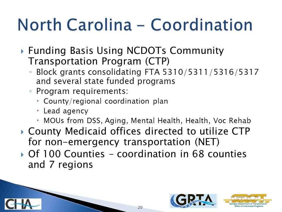 Funding Basis Using NCDOTs Community Transportation Program (CTP) Block grants consolidating FTA 5310/5311/5316/5317 and several state funded programs