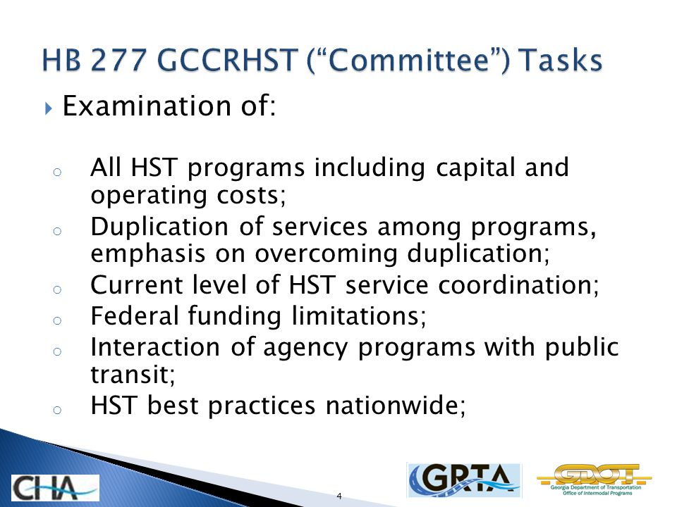 Examination of: o All HST programs including capital and operating costs; o Duplication of services among programs, emphasis on overcoming duplication; o Current level of HST service coordination; o Federal funding limitations; o Interaction of agency programs with public transit; o HST best practices nationwide; 4