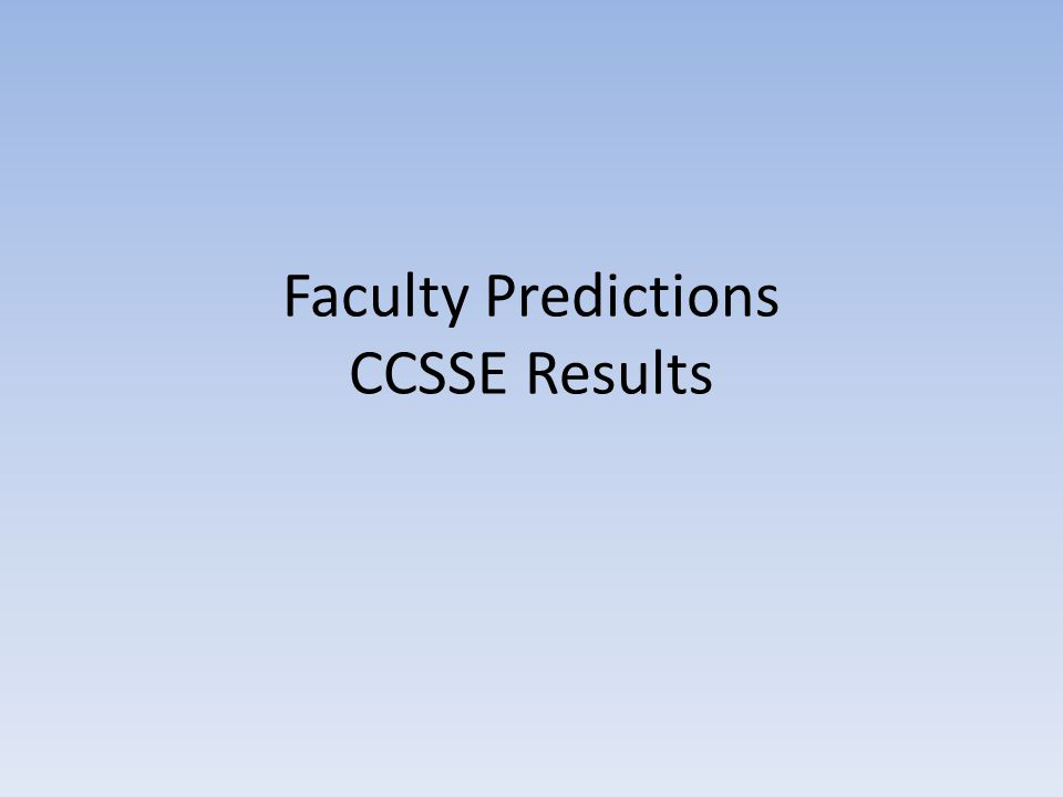 Faculty Predictions CCSSE Results