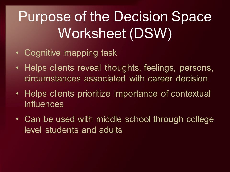 Purpose of the Decision Space Worksheet (DSW) Cognitive mapping task Helps clients reveal thoughts, feelings, persons, circumstances associated with c