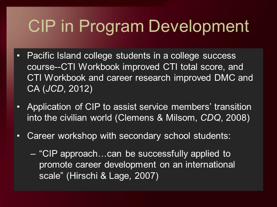 CIP in Program Development Pacific Island college students in a college success course--CTI Workbook improved CTI total score, and CTI Workbook and ca