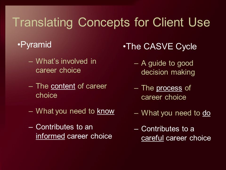 Translating Concepts for Client Use Pyramid –Whats involved in career choice –The content of career choice –What you need to know –Contributes to an i