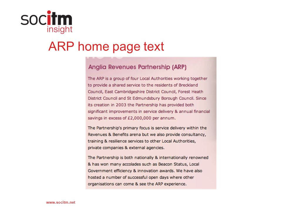 www.socitm.net ARP home page text