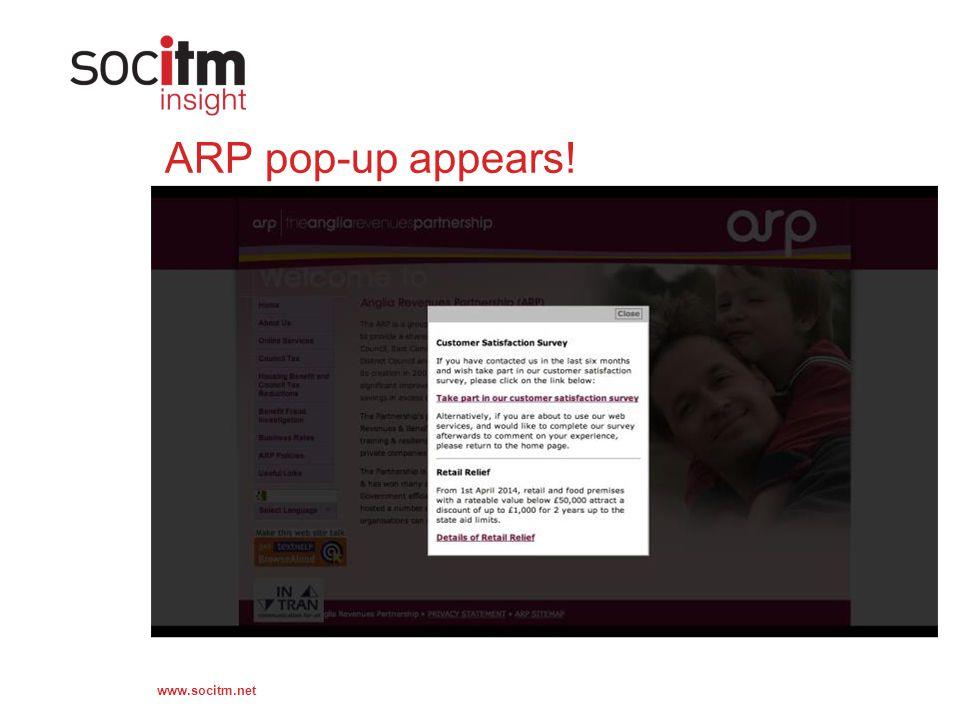 www.socitm.net ARP pop-up appears!