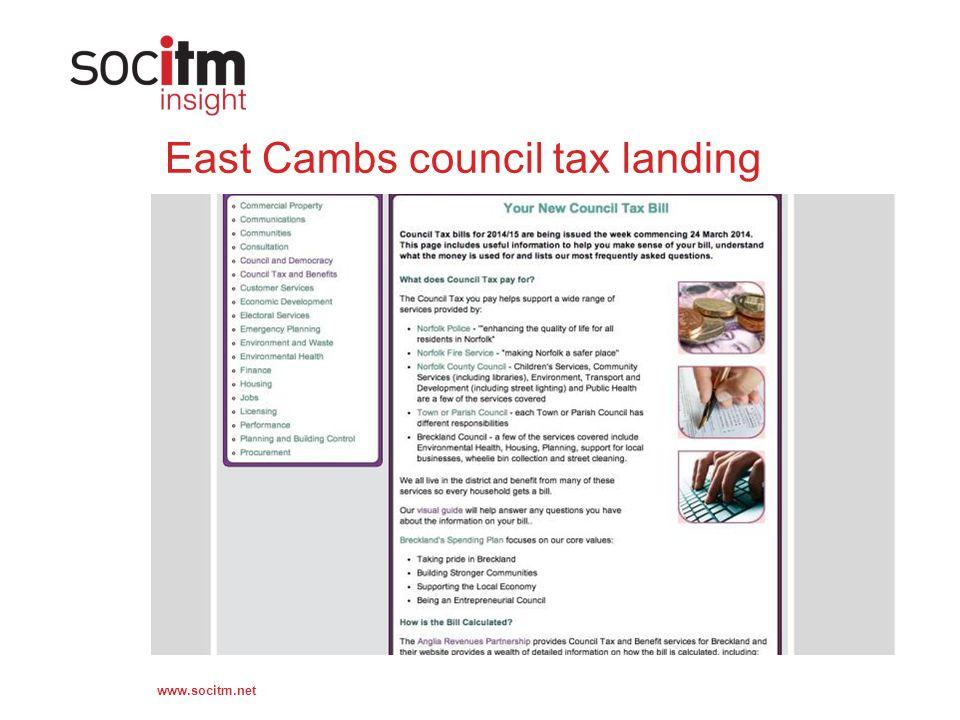 www.socitm.net East Cambs council tax landing