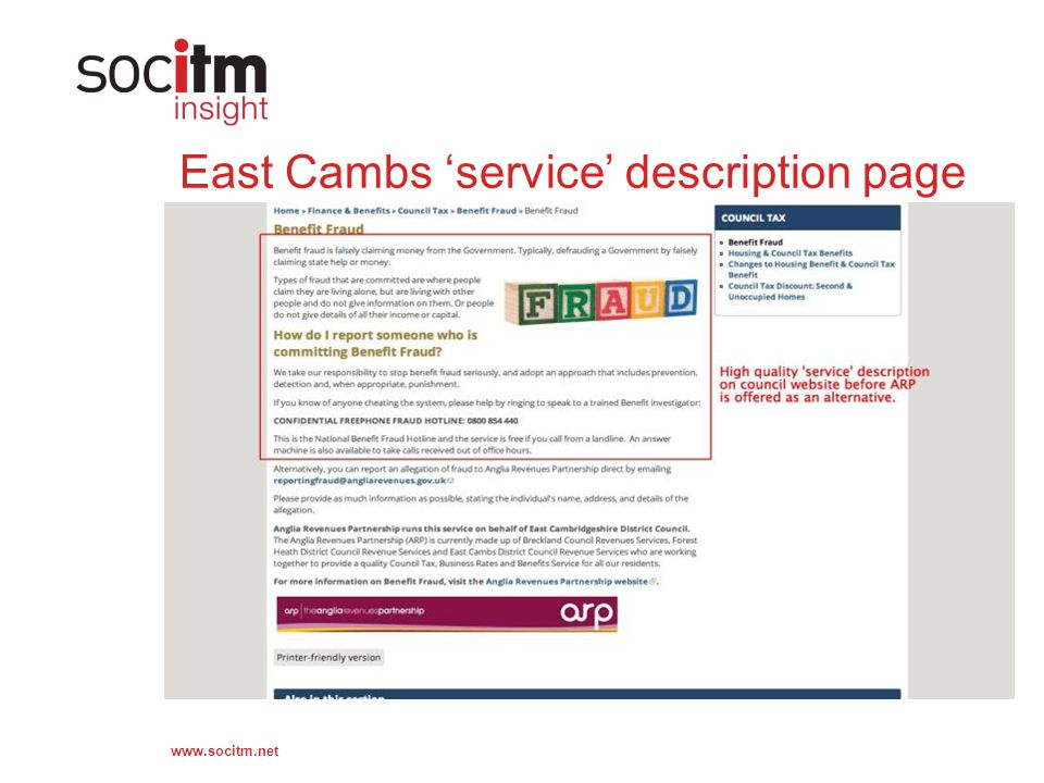 www.socitm.net East Cambs service description page