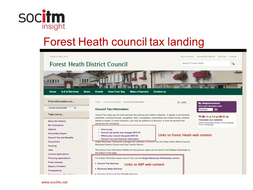 www.socitm.net Forest Heath council tax landing