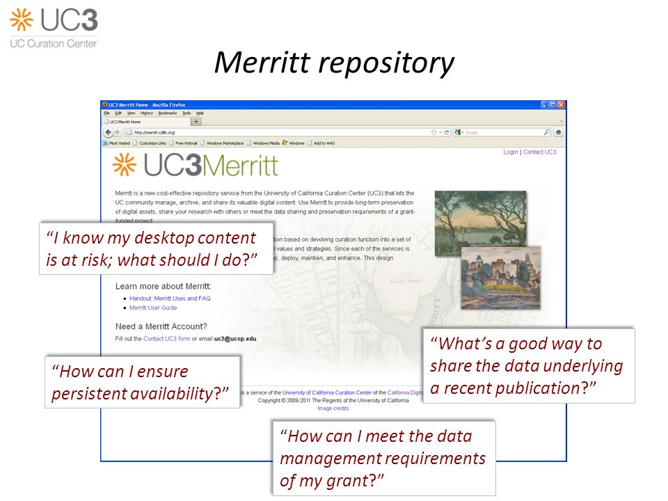 Merritt repository How can I meet the data management requirements of my grant.