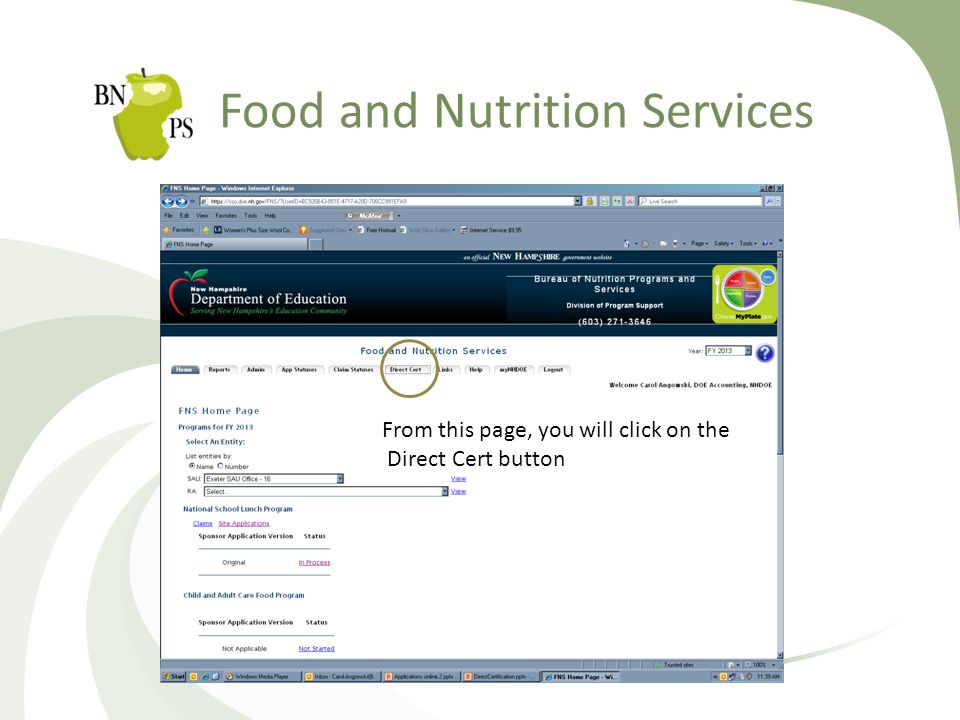 Food and Nutrition Services From this page, you will click on the Direct Cert button