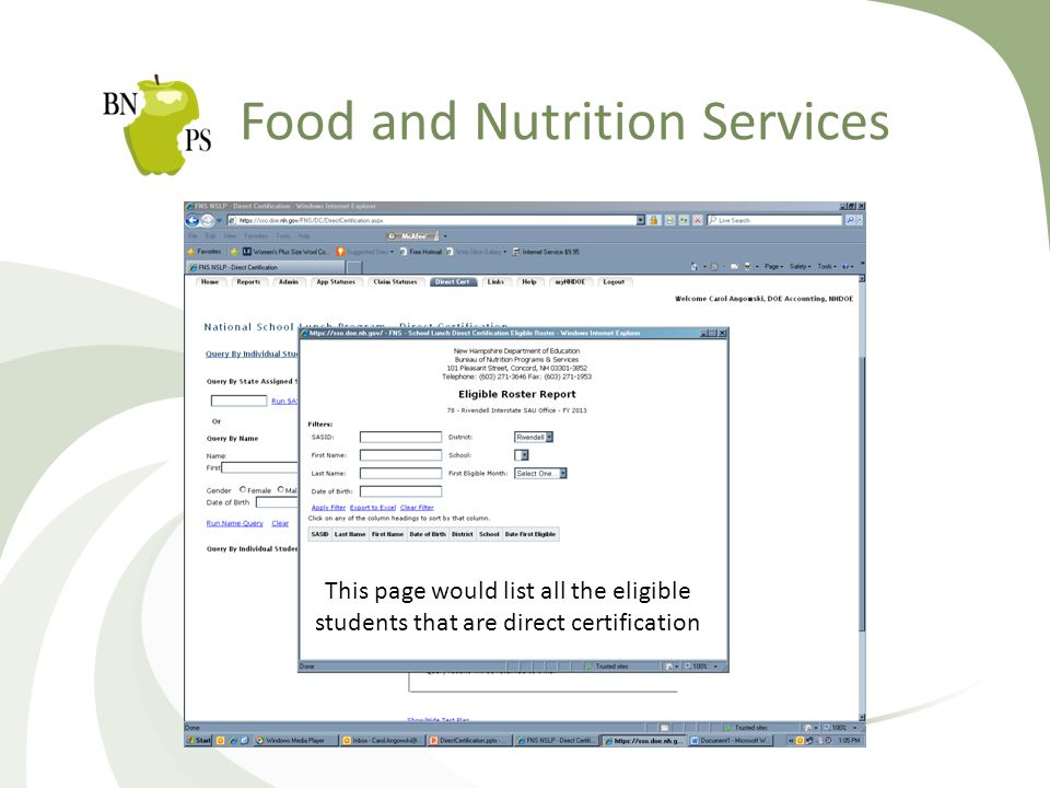 Food and Nutrition Services This page would list all the eligible students that are direct certification