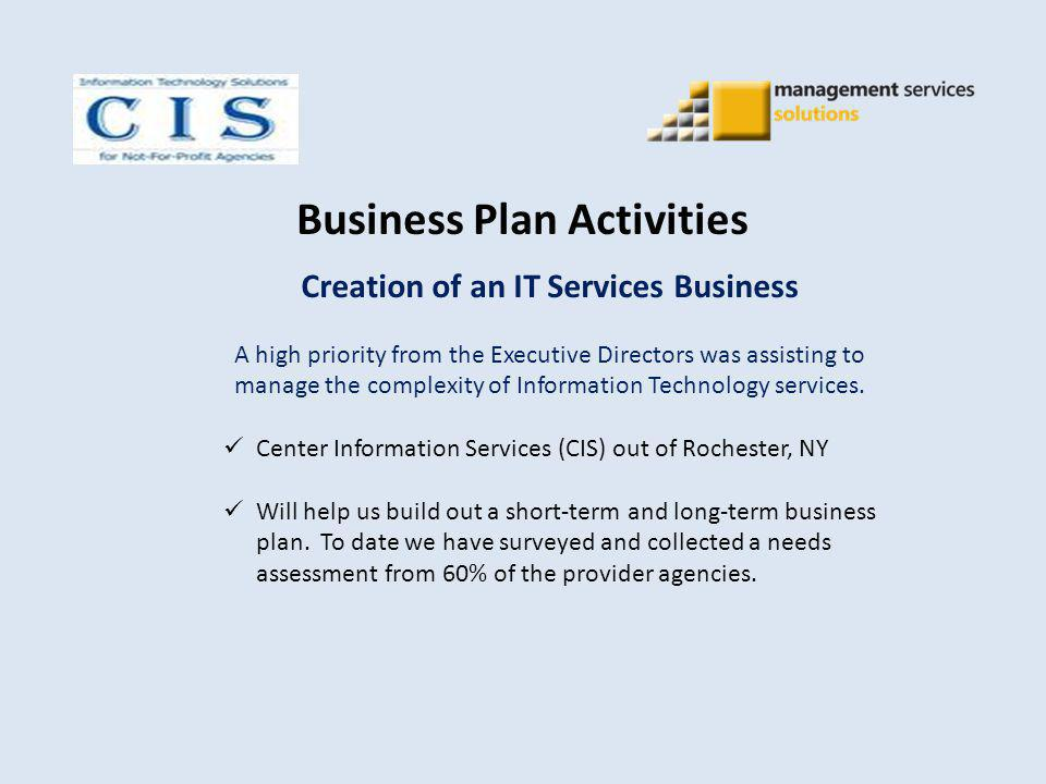 Creation of an IT Services Business A high priority from the Executive Directors was assisting to manage the complexity of Information Technology services.