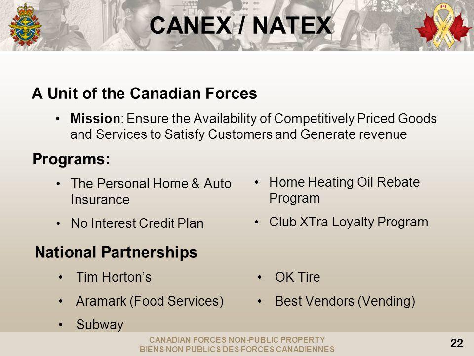 CANADIAN FORCES NON-PUBLIC PROPERTY BIENS NON PUBLICS DES FORCES CANADIENNES 22 CANEX / NATEX A Unit of the Canadian Forces Mission: Ensure the Availa