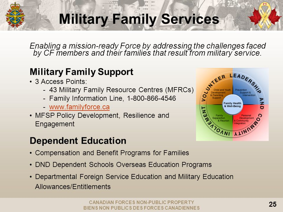 CANADIAN FORCES NON-PUBLIC PROPERTY BIENS NON PUBLICS DES FORCES CANADIENNES 25 Military Family Services Enabling a mission-ready Force by addressing