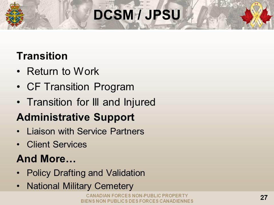 CANADIAN FORCES NON-PUBLIC PROPERTY BIENS NON PUBLICS DES FORCES CANADIENNES 27 DCSM / JPSU Transition Return to Work CF Transition Program Transition