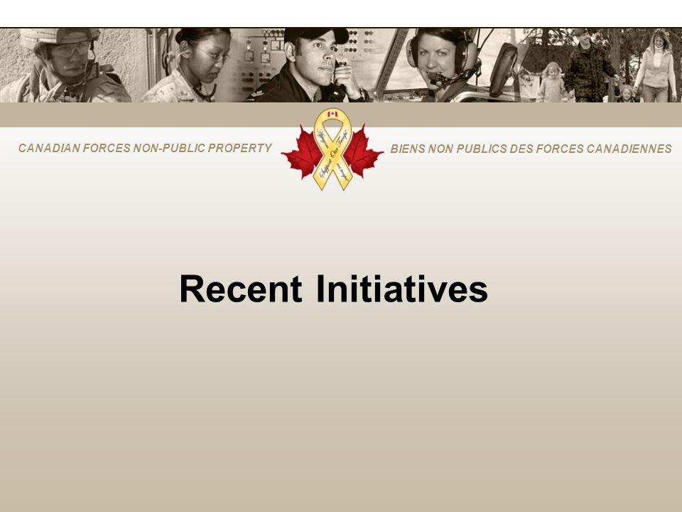 CANADIAN FORCES NON-PUBLIC PROPERTY BIENS NON PUBLICS DES FORCES CANADIENNES Recent Initiatives