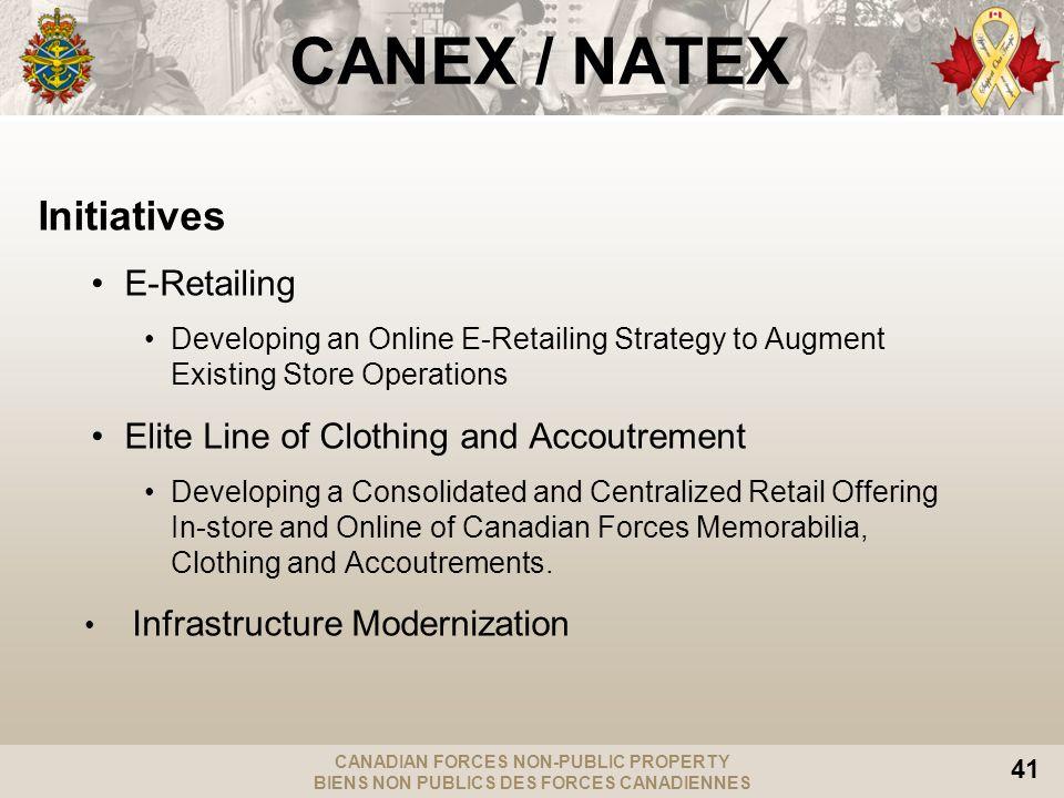 CANADIAN FORCES NON-PUBLIC PROPERTY BIENS NON PUBLICS DES FORCES CANADIENNES 41 CANEX / NATEX Initiatives E-Retailing Developing an Online E-Retailing