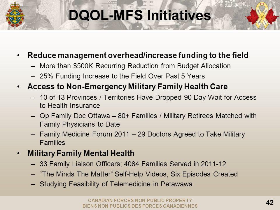 CANADIAN FORCES NON-PUBLIC PROPERTY BIENS NON PUBLICS DES FORCES CANADIENNES 42 DQOL-MFS Initiatives Reduce management overhead/increase funding to th