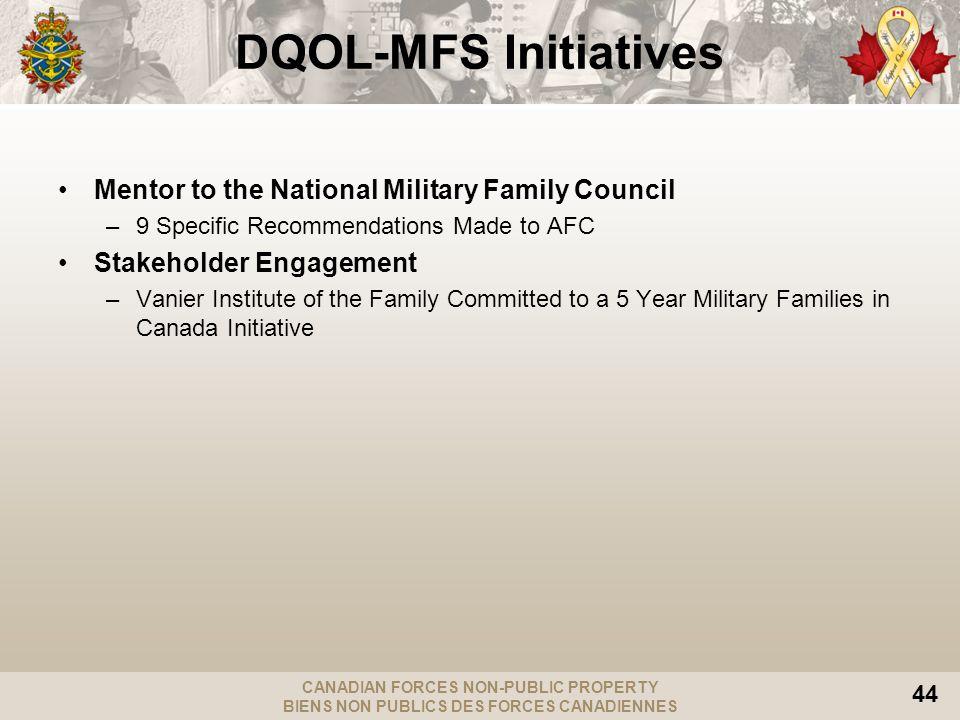 CANADIAN FORCES NON-PUBLIC PROPERTY BIENS NON PUBLICS DES FORCES CANADIENNES 44 Mentor to the National Military Family Council –9 Specific Recommendat