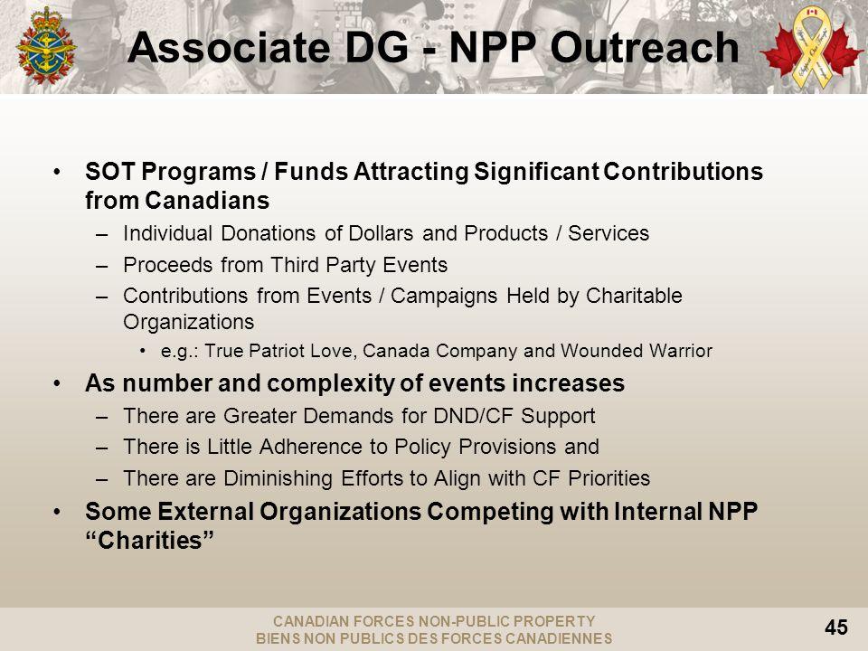 CANADIAN FORCES NON-PUBLIC PROPERTY BIENS NON PUBLICS DES FORCES CANADIENNES 45 Associate DG - NPP Outreach SOT Programs / Funds Attracting Significan