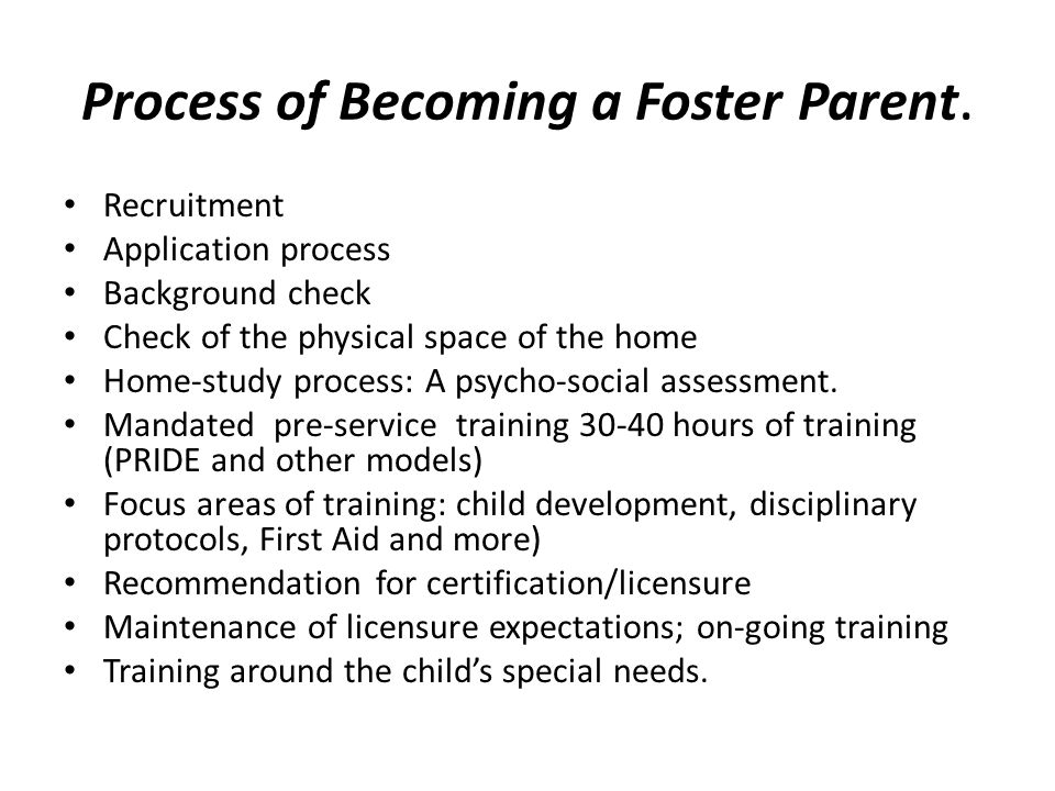 Process of Becoming a Foster Parent.