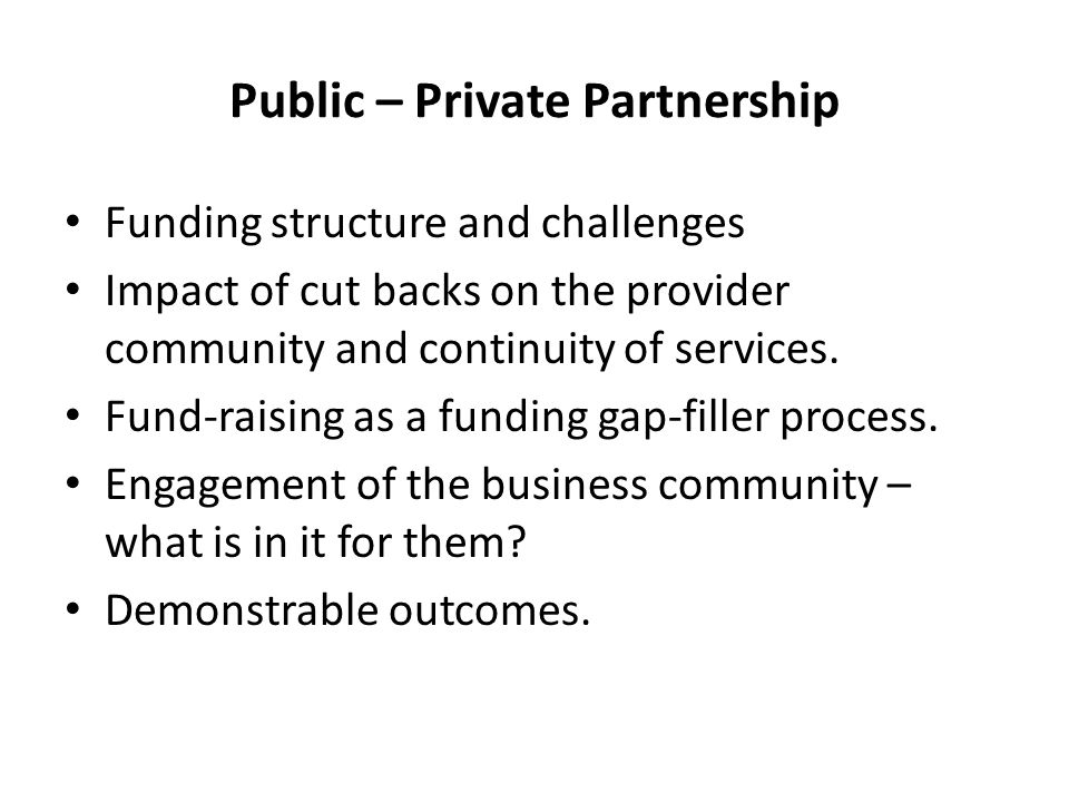 Public – Private Partnership Funding structure and challenges Impact of cut backs on the provider community and continuity of services.