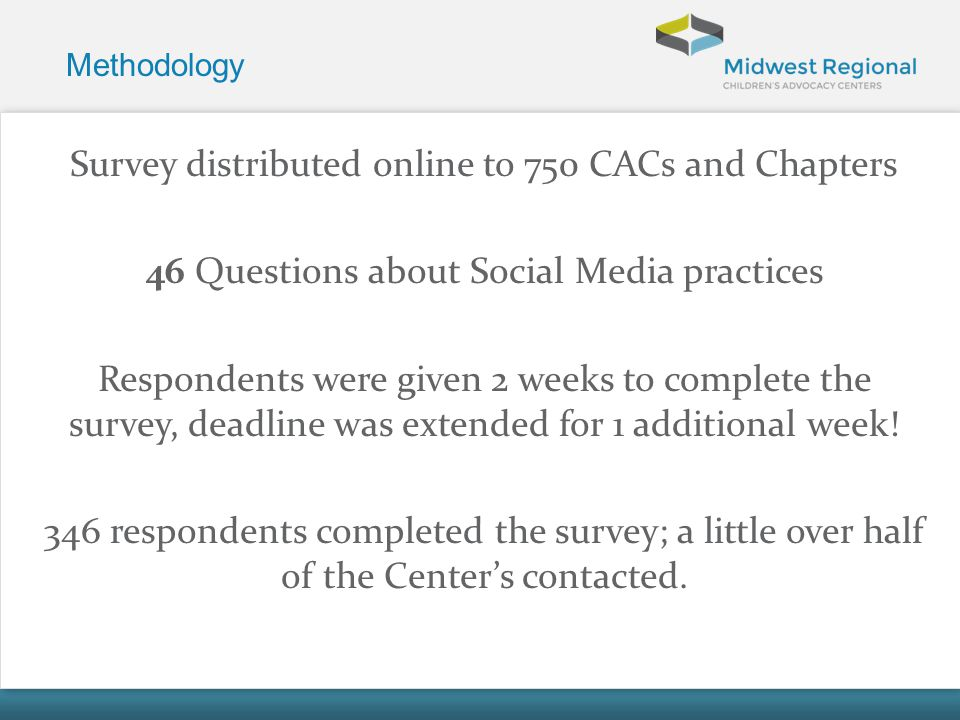 Methodology Survey distributed online to 750 CACs and Chapters 46 Questions about Social Media practices Respondents were given 2 weeks to complete th