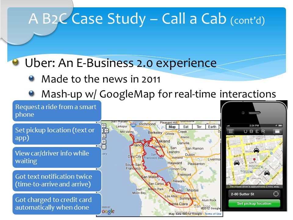 A B2C Case Study – Call a Cab (contd) Request a ride from a smart phone Set pickup location (text or app) View car/driver info while waiting Got text notification twice (time-to-arrive and arrive) Got charged to credit card automatically when done Uber: An E-Business 2.0 experience Made to the news in 2011 Mash-up w/ GoogleMap for real-time interactions