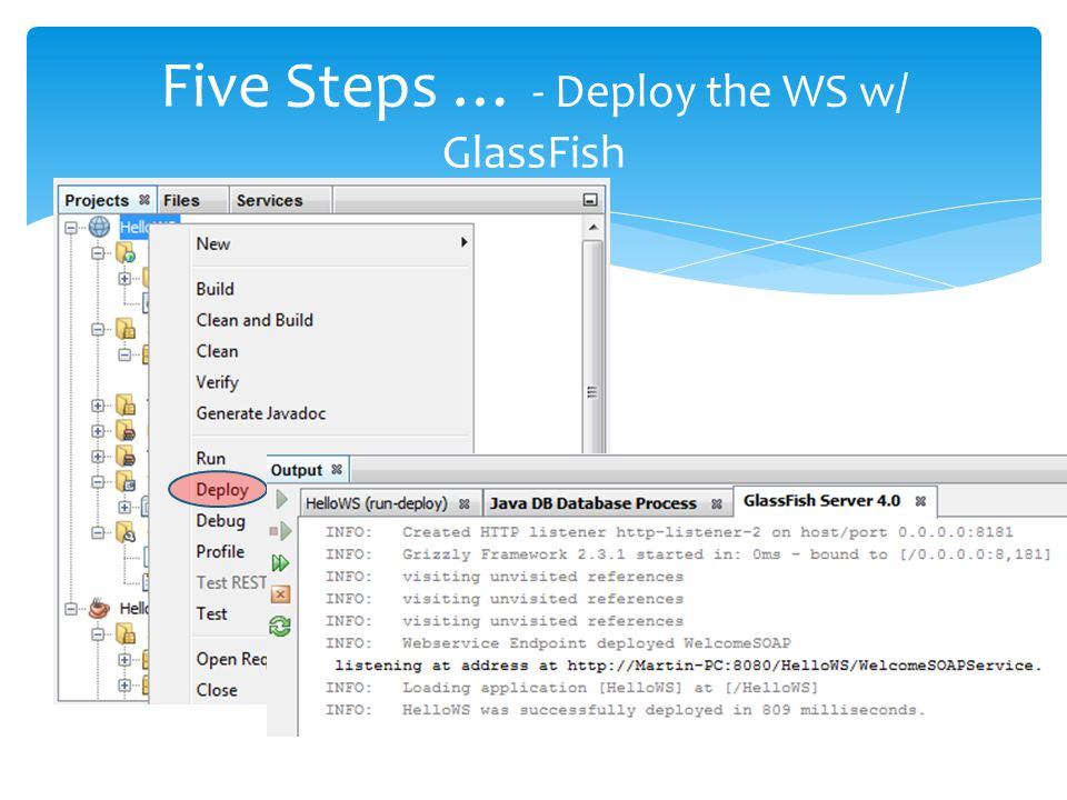 Five Steps … - Deploy the WS w/ GlassFish