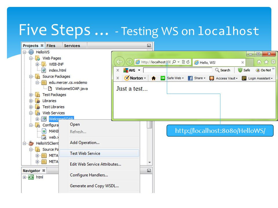 Five Steps … - Testing WS on localhost http://localhost:8080/HelloWS/