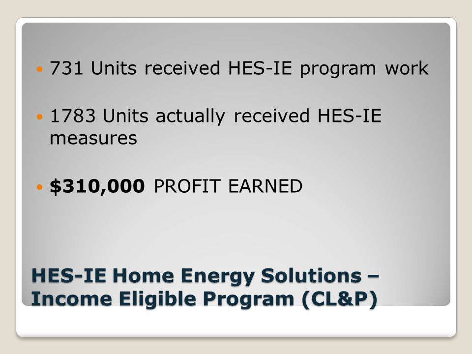 HES-IE Home Energy Solutions – Income Eligible Program (CL&P) 731 Units received HES-IE program work 1783 Units actually received HES-IE measures $310