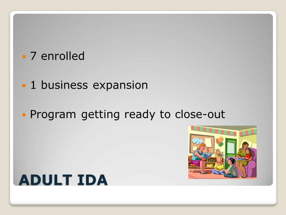 ADULT IDA 7 enrolled 1 business expansion Program getting ready to close-out