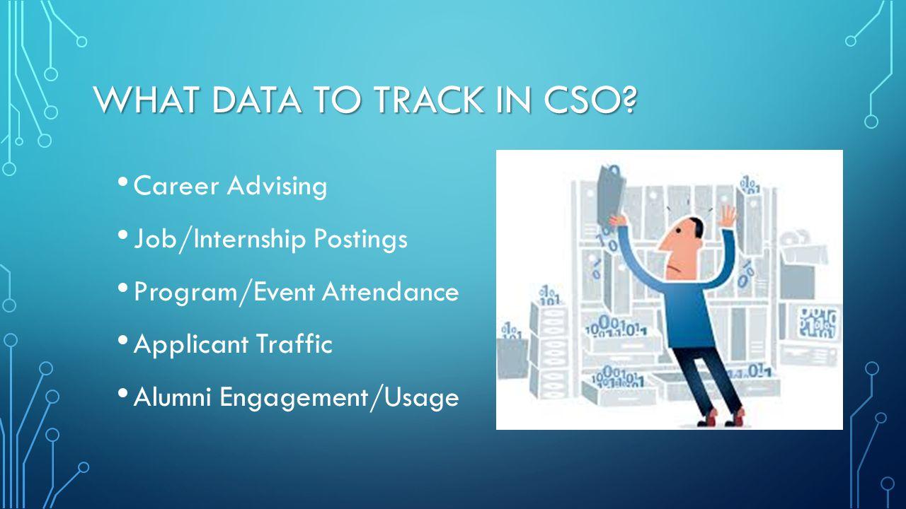 WHAT DATA TO TRACK IN CSO? Career Advising Job/Internship Postings Program/Event Attendance Applicant Traffic Alumni Engagement/Usage