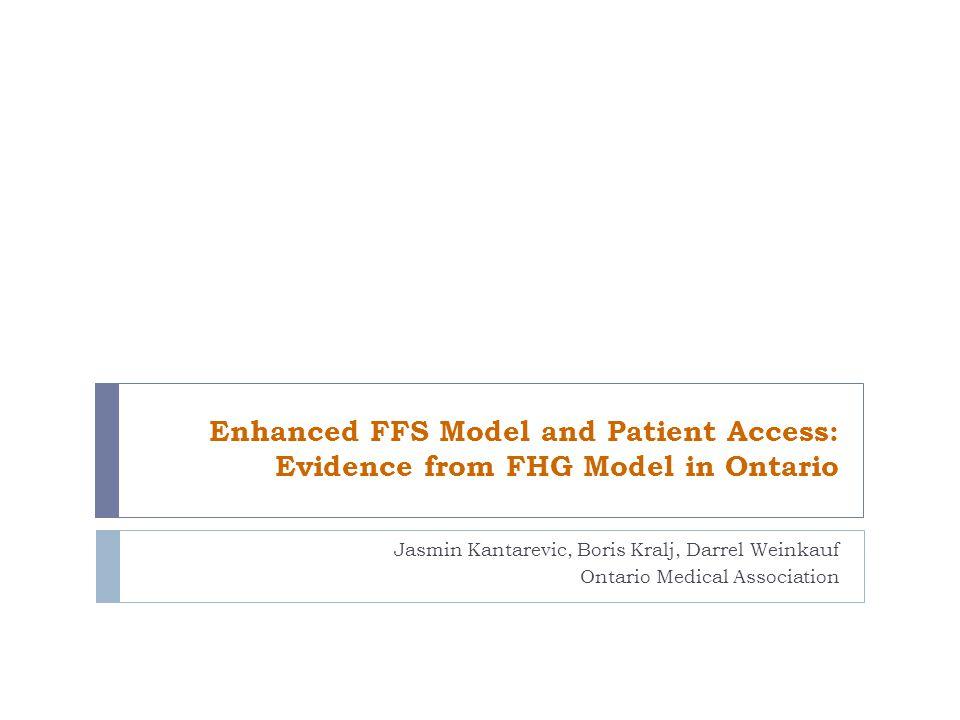 Outline 1.Patient Enrolment Models in Ontario 2. Comparison of FFS and FHG Models 3.